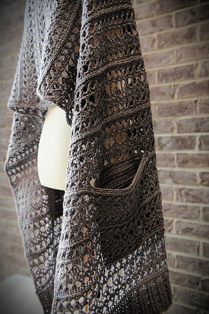 Easy Crochet Shawl With Pockets Free Pattern